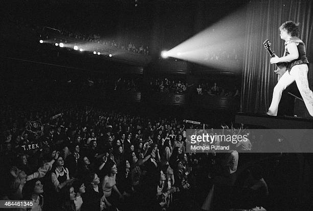Singer and guitarist Marc Bolan performing with British glam rock group T-Rex, at The Apollo, Glasgow, 22nd January 1974.
