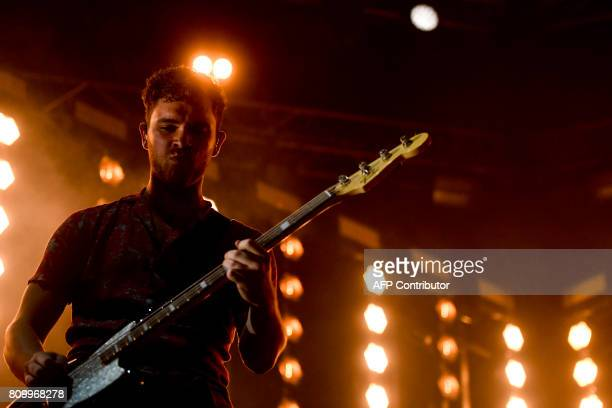 Singer and guitarist Mike Kerr from the British band Royal Blood performs at the 11th Alive Festival in Oeiras near Lisbon on July 6 2017 / AFP PHOTO...