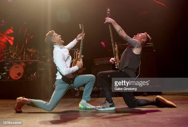 Singer and guitarist Nick Hexum and bassist PNut of 311 perform during X1075's Holiday Havoc 2018 show at The Pearl concert theater at Palms Casino...