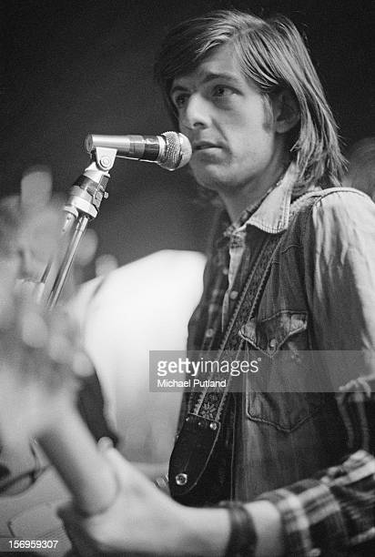 Singer and guitarist Nick Lowe of English pub rock band Brinsley Schwarz performs at the Tally Ho in Kentish Town London 19th April 1972