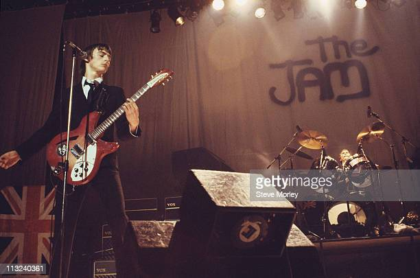 Singer and guitarist Paul Weller and drummer Rick Buckler of British punk band The Jam on stage during a live concert performance at the Top Rank...