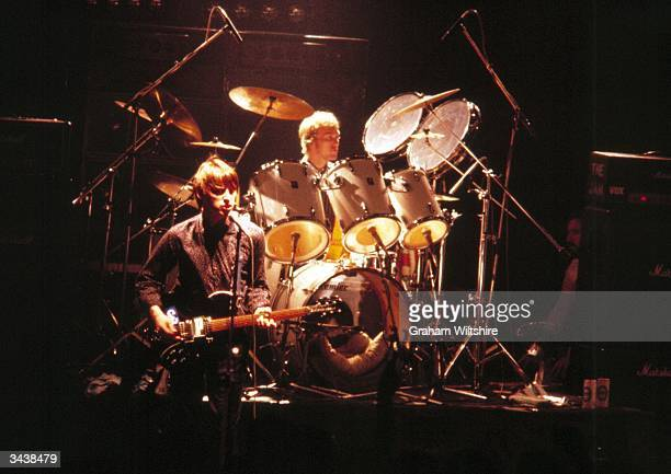 Singer and guitarist Paul Weller and drummer Rick Buckler of Punk/Mod group The Jam in performance