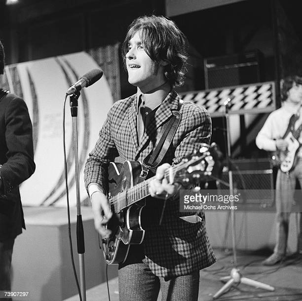 Singer and guitarist Ray Davies of the rock group 'The Kinks' performs on the 'Ready Steady Go' Television show June 24 1966 in London England