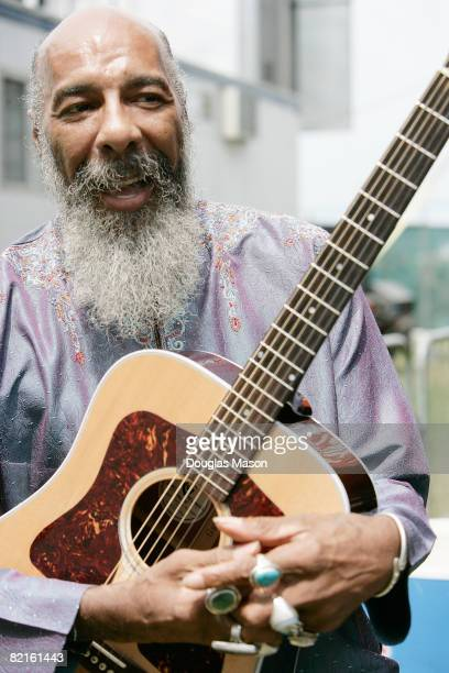 Singer and guitarist Richie Havens poses at the Newport Folk Festival at Fort Adams State Park on August 2 2008 in Newport Rhode Island