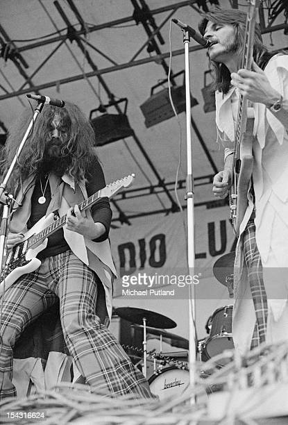 Singer and guitarist Roy Wood and bassist Rick Price performing with English pop group Wizzard at the Reading Festival Reading Berkshire 13th August...