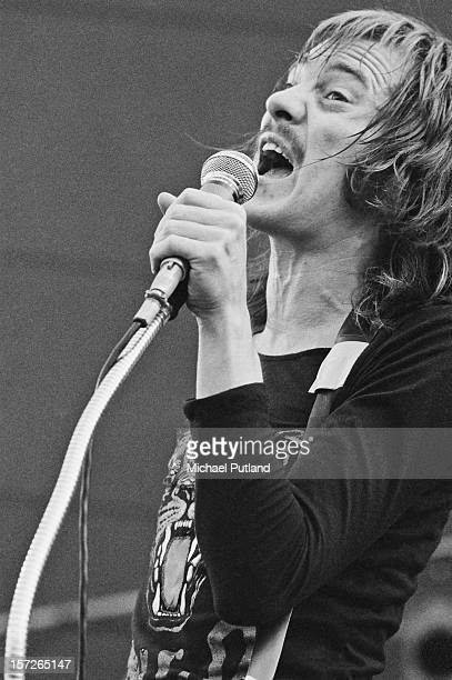 Singer and guitarist Steve Marriott performing with British rock group Humble Pie at the Great Western Express Lincoln Festival Bardney Lincolnshire...