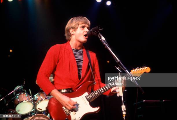 Singer and guitarist Tom Cochrane of Red Rider performs on stage at the Rosemont Horizon in Rosemont Illinois September 17 1981