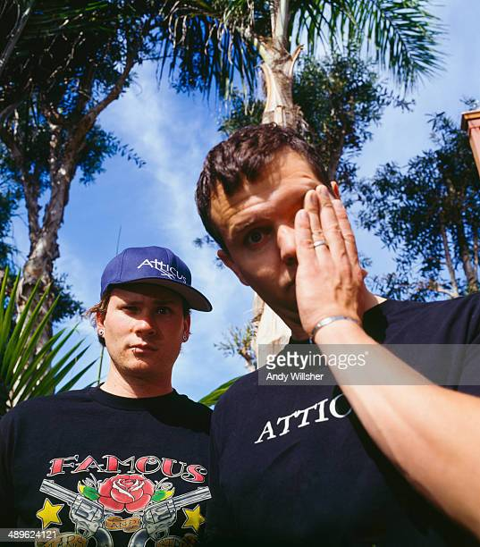 Singer and guitarist Tom DeLonge and singer and bassist Mark Hoppus of American rock group Blink 182 circa 2000