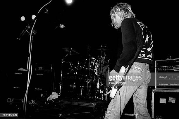singer and guitarist with Nirvana Kurt Cobain performs live on stage in Frankfurt Germany on November 12 1991