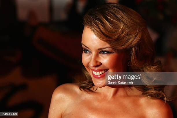 Singer and host Kylie Minogue arrives at the Brit Awards 2009 at Earls Court on February 18, 2009 in London, England.