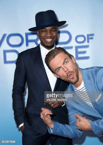 Singer and judge NeYo and professional dancer and judge Derek Hough attend the NBC Universal 'World of Dance' Red Carpet event on January 30 in...