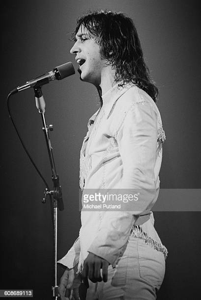 Singer and keyboard player Steve Walsh performing with American rock group Kansas 1977