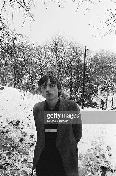 Singer and lyricist Mark E Smith of English rock group The Fall in a snowy park 16th January 1981
