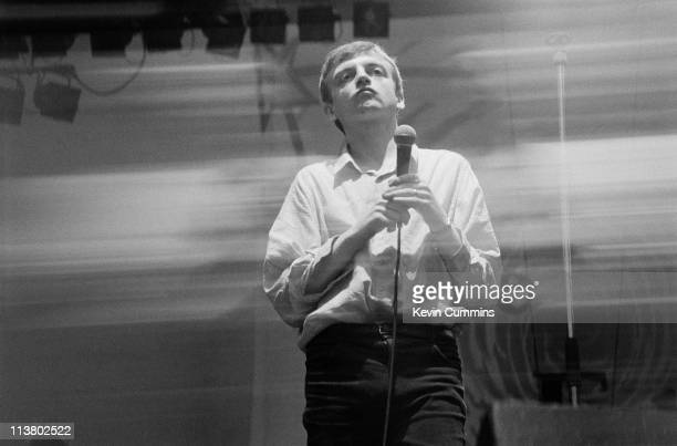 Singer and lyricist Mark E Smith of The Fall performing at the GMEX centre Manchester during the Festival Of The 10th Summer 19th July 1986