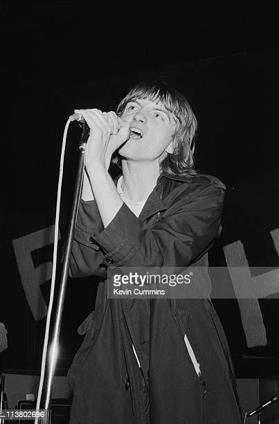 Singer and lyricist Mark E Smith performing with The Fall at the Mayflower Club Manchester 29th July 1979