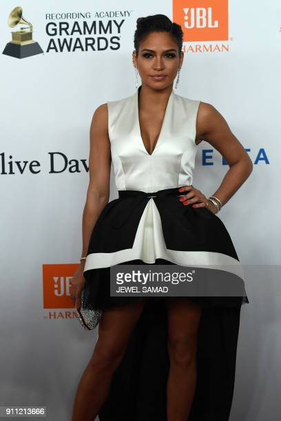 Singer and model Cassie Ventura arrives for the traditionnal Clive Davis party on the eve of the 60th Annual Grammy Awards on January 28 in New York...