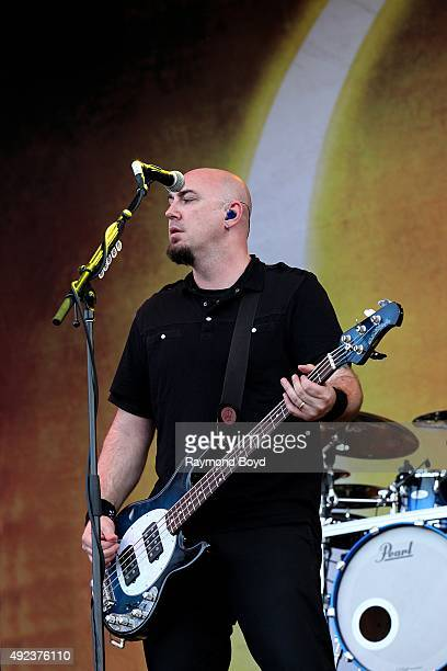Singer and musician Aaron Bruch from Breaking Benjamin performs during the 'Louder Than Life' festival at Champions Park on October 4 2015 in...