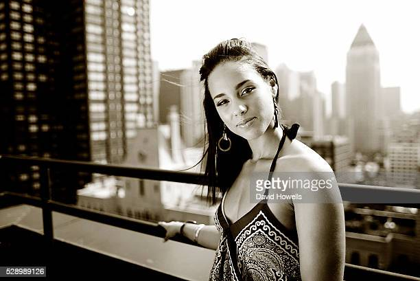 Singer and musician Alicia Keys photographed at the Hudson Hotel New York City