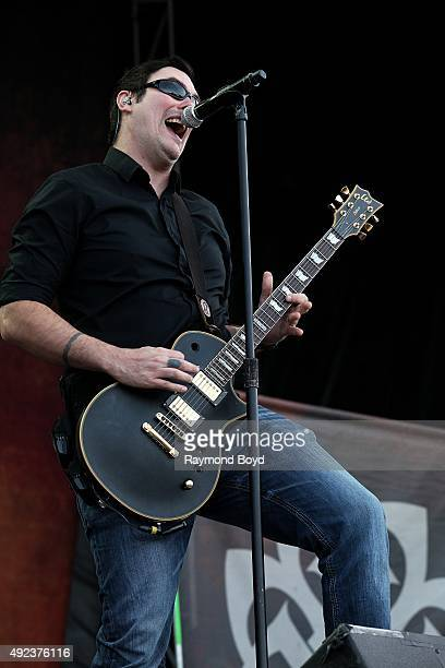 Singer and musician Benjamin Burnley from Breaking Benjamin performs during the 'Louder Than Life' festival at Champions Park on October 4 2015 in...