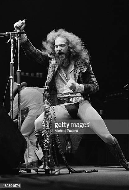 Singer and musician Ian Anderson performing with British progressive rock group Jethro Tull at Wembley Empire Pool London 23rd June 1973