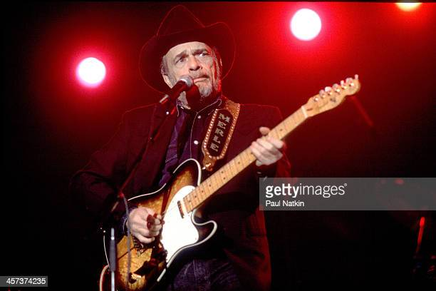 Singer and musician Merle Haggard performs, Chicago, Illinois, October 27, 1996.
