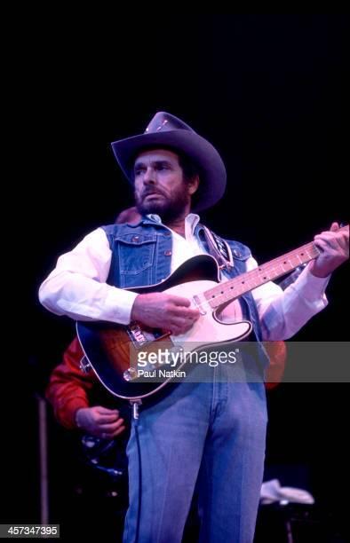 Singer and musician Merle Haggard performs Fresno California April 19 1986