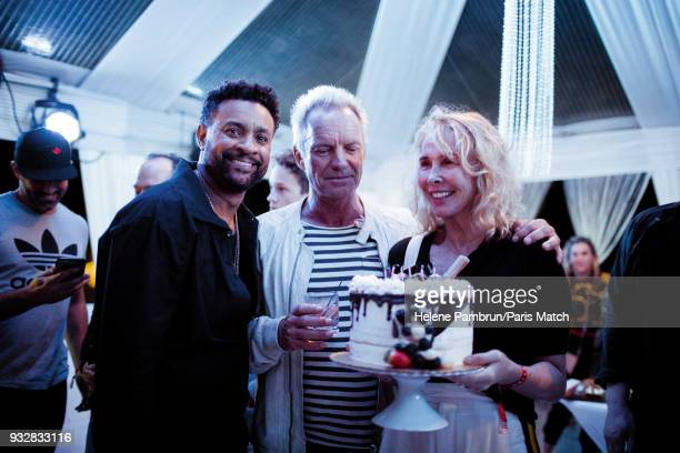 Singer and musician Sting with his wife Trudie Styler and singer and Shaggy are photographed for Paris Match on January 6 2018 in Kingston Jamaica