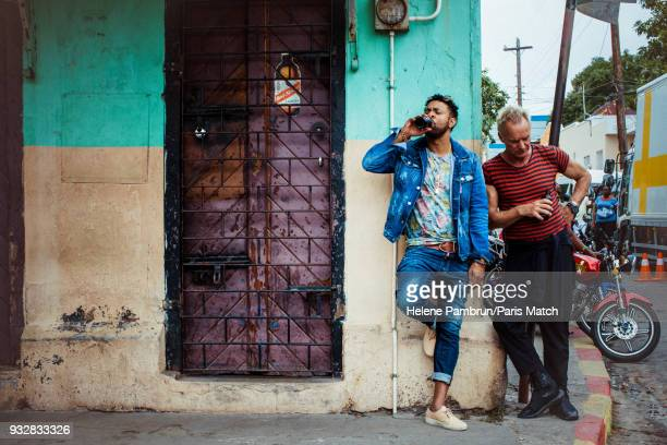 Singer and musician Sting with singer and Dj Shaggy during the filming of a music video Don't Make me Wait are photographed for Paris Match on...