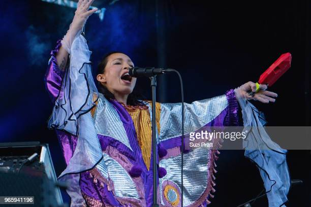 Singer and musician Yukimi Nagano of Little Dragon performs at the Upstream Music Festival in Pioneer Square on June 1 2018 in Seattle Washington