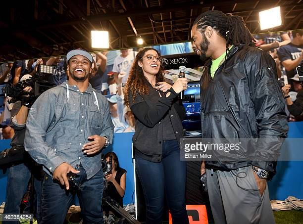 Singer and NFL superfan Jordin Sparks interviews New England Patriots running back Shane Vereen and Seattle Seahawks cornerback Richard Sherman...