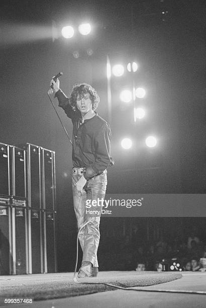 Singer and poet Jim Morrison of the rock band the Doors performing at the Hollywood Bowl in Los Angeles California