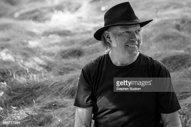 Singer and Pono inventor Neil Young is photographed for American Way Magazine on May 18 2016 in Malibu California