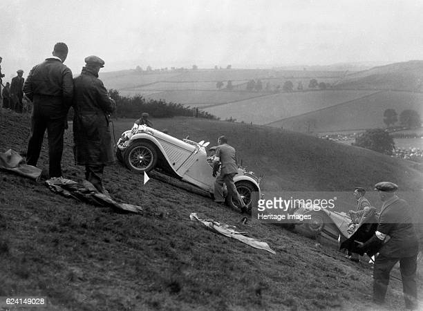 Singer and Riley Imp of B Bira competing in the MG Car Club Rushmere Hillclimb Shropshire 1935 Artist Bill BrunellLeft Singer 1496 cc Right Riley Imp...