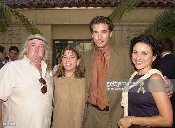 Singer and song writer David Crosby left his wife Jan Dance actor William Baldwin and actress Julia Louis Dreyfuss pose for photographers at a...