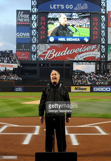 Singer and song writer Neil Sedaka performs the National Athem at Citi Field on May 23 2010 in New York City