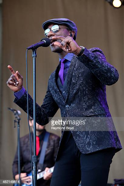 Singer and songwriter Aloe Blacc performs on the Petrillo Music Shell during the 34th Annual Taste Of Chicago food festival on July 13 2014 in...