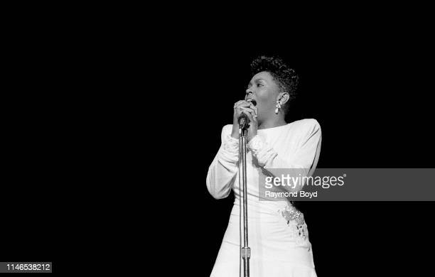 Singer and songwriter Anita Baker performs at Poplar Creek Music Theatre in Hoffman Estates Illinois in August 1987