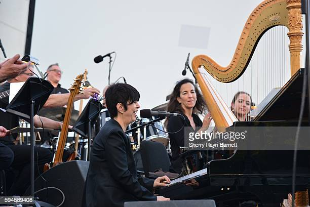 Singer and songwriter Diane Warren performs at 'Women Who Score' event at Grand Performances in Downtown LA on August 19 2016 in Los Angeles...
