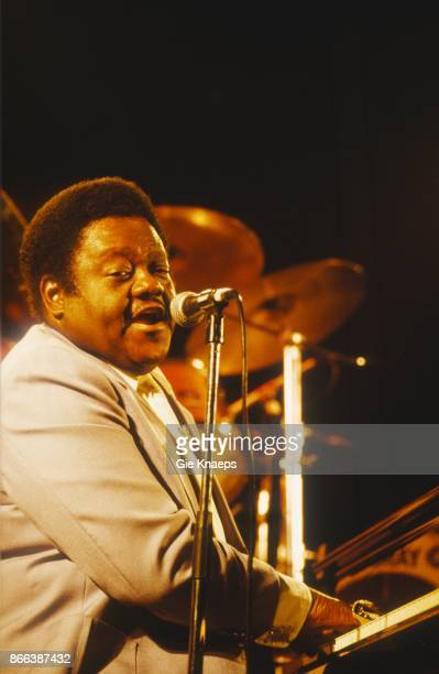 B singer and songwriter Fats Domino performs live at Keizershallen on March 15 1990 in Berkeley California