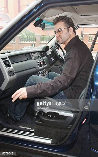 Singer and songwriter George Michael seated in his car The musician accepted the Radio Academy's PPL Award at the Shaw Theatre on April 28 2004 in...