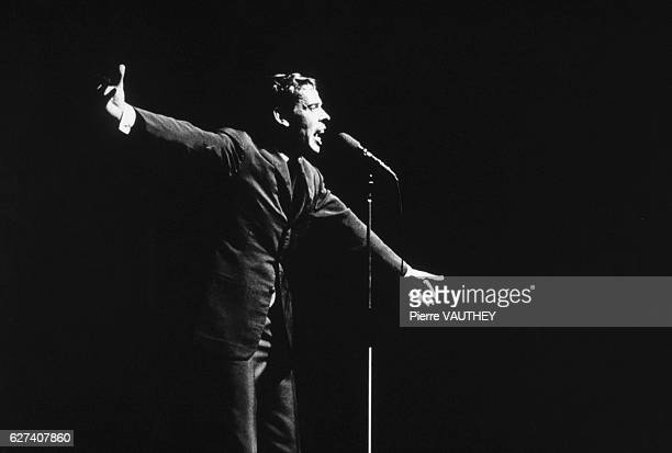 Singer and songwriter Jacques Brel says goodbye on stage at the Olympia in Paris on January 1 1966 This is his last concert before his retirement...