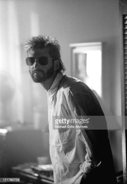 Singer and songwriter Kenny Loggins performs in the video for the song 'Danger Zone' from the soundtrack to the movie 'Top Gun' in 1986 in Los...