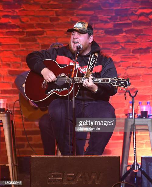Singer and songwriter Luke Combs performs at CMA Songwriters Series at Marathon Music Works on February 19 2019 in Nashville Tennessee