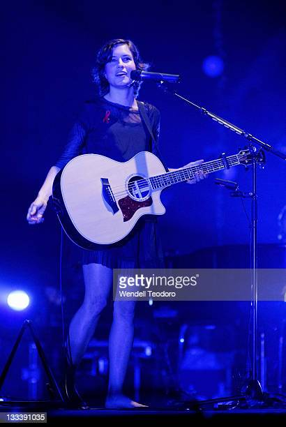 Singer and songwriter Missy Higgins performs on stage during her 'One Night Only' tour at the Sydney Entertainment Centre on December 1 2007 in...