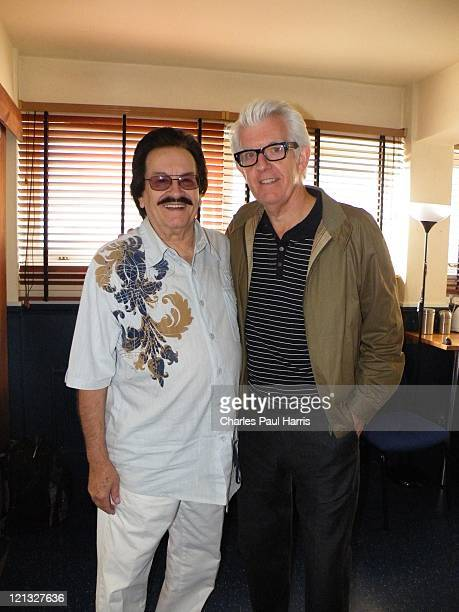 Singer and songwriter Nick Lowe and Warren Storm of the Lil' Band O' Gold backstage at the O2 Shepherd's Bush Empire on June 14 2011 in London England