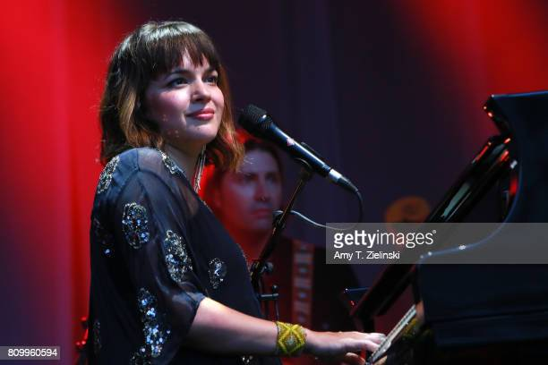 Singer and songwriter Norah Jones performs at the piano during the opening concert for the 2017 Summer Series at Somerset House on July 6 2017 in...