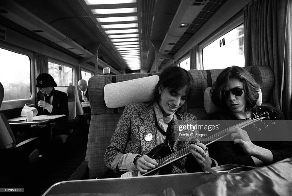 Singer and songwriter Patti Smith on a train from Manchester to London, 1978.