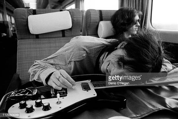 Singer and songwriter Patti Smith on a train from Manchester to London 1978