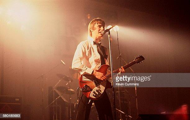 Singer and songwriter Paul Weller performing with The Jam circa 1980