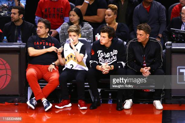 Singer and songwriter Shawn Mendes watches Game Two of the 2019 NBA Finals between the Golden State Warriors and the Toronto Raptors at Scotiabank...